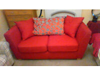 RED 2-SEATER SETTEE WITH CUSHIONS - £100 ONLY