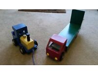 Lovely hand-made wooden toys - train and flatbed lorry