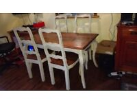 Rectangular Wooden Dining Table & 4 Chairs.