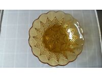 Vintage trifle/ jelly/ fruit bowl in amber glass