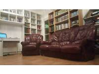 Exquisite Maroon LEATHER SOFA/ARMCHAIRS for CHEAP[Whole SET][CHAIR SOFA FURNITURE SETTEE COUCH WOOD]