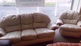 GOOD CONDITION! 3 seater cream leather sofa and swivel armchair