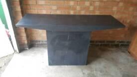 Solid grey granite console table