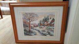 Framed Cross Stitch tapestry picture of a Winter Scene