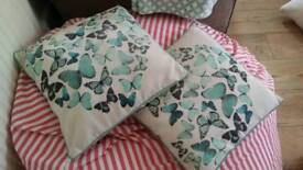2 x butterfly print cotton cushions