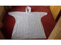 Disposable Festival Ponchos Rain Jacket - White with String Hood, Elastic sleeves **200 per box**