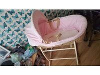 Pink dimple moses basket