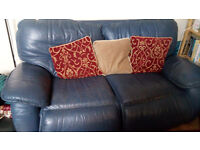 FREE Blue Leather Two Seater Sofa Settee Chair