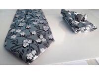 Pure Silk Tie Set Cuff Links Hanky Floral