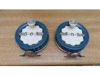 2 x vintage fuji 45 centre pin fishing reels full working order 1960/70s bargain at £40