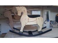 Handmade pine rocking horse