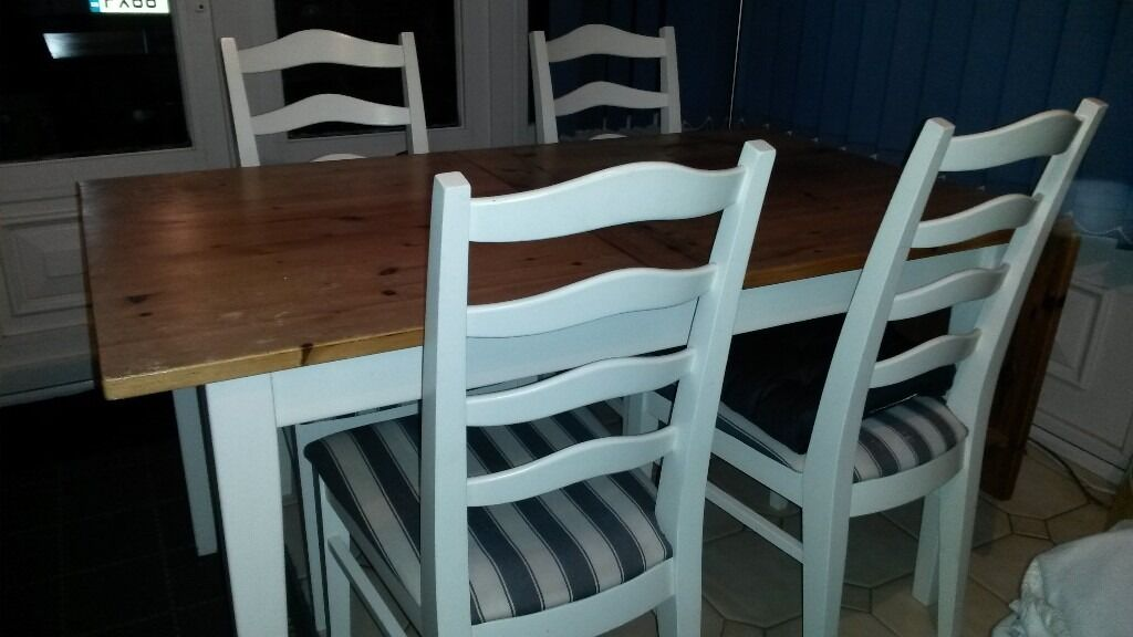 Dining Table With 4 Chairs, Folding Extension And Pine Topin Ripley, DerbyshireGumtree - Dining Table With 4 Chairs, Folding Extension And Pine Top. Extension folds up and locks into place to make the table longer.Slight wear on one of the chairs and a bit of surface damage to the table top (see photos). Table has been dismantled and...