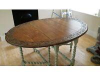 Oak table with barley twist legs