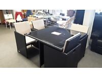 RATTAN EFFECT SQUARE DINING TABLE AND 4 CUBE CHAIRS CAN DELIVER