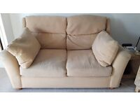 2 SEATER NEXT SOFA AND SINGLE SEATER WHICKER CHAIR