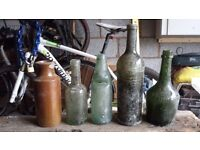 Selection of old glass bottles