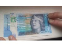 AA01 five pound note starting at £10..