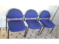 3 Office Reception Blue Chairs