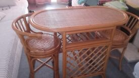 Rattan table with chairs