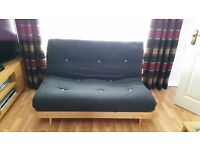 Black/grey Futon double sofa bed