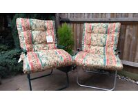 2 chair seat cushions for outdoor lounger or chair