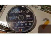 MediaRange Mini 8cm DVD-R 1.4gb (GByte/Giga Byte) 4x Write Speed 10 in tube