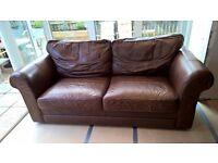 Laura Ashley Chocolate Brown Real Leather Sofa Three 3 Seater