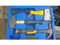 SET OF QUALITY JCB TOOLS WHICH ARE A CLAW HAMMER, AN AXE & A LUMP HAMMER
