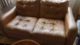 sofa 2 seater in tan leather