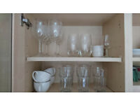 Pans and pots, plates, trays, cutleries, glasses, kitchen tools