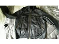 Superdry leather jacket xl
