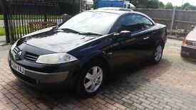 Black Renault Megane Dynamique DCI 120 Convertible Diesel 2004 with NEW Years MOT