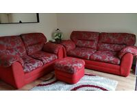 Sofa 2 seater 3seater and footstool