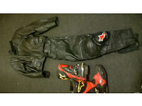 Motorbike clothes, gloves,boots and two helmets