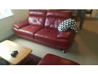 Harveys 3 seater leather sofa red modern style, chrome legs
