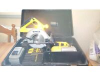 Used Dewalt 24 v cordless tools set, SDS Drill/Circular saw, NEW batts, etc, see photos & details