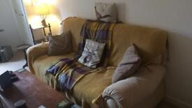 3 seater cream suede sofa