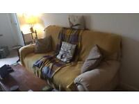 3 seater cream suede sofa