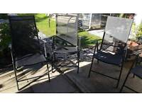 GARDEN TABLE AND SIX CHAIRS BLACK