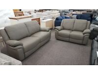 Libra Grey Leather 3+2 Seater Sofas, From SCS