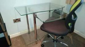 Glass computer desk and chair
