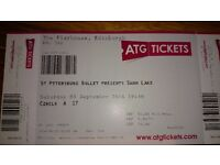 2tickets for the St Petersburg Ballet Swan Lake . Edinburgh playhouse. 03 September 2016
