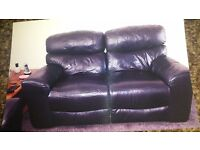 2x2 brown leather settee