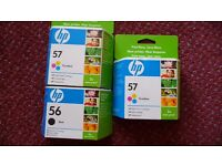 3 HP PRINTER CARTRIDGES - SHADES 56 AND 57