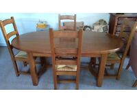 Ponsford solid oak extendable dining table and 4 chairs, plus matching sideboard, vgc