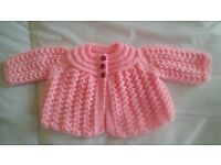 brand new hand knitted matinee coat
