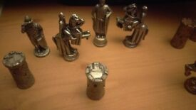 old heavy piece chess set no board