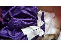 Gorgeous Purple and Ivory Satin Flower girl dress, age 3-4, Quick Sale