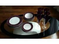Lovely 18 piece porcelain dinner set + 6 wine glasses