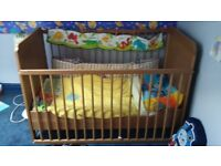 Ikea wooden baby cot and toddler bed
